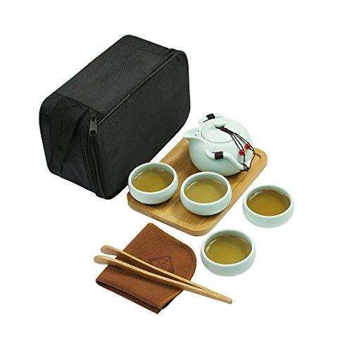 CaoBin Portable Travel Tea Set - 100 Handmade Chinese  Japanese Vintage Kungfu Gongfu Tea Set - Porcelain Teapot Teacups Bamboo Tea Tray Tea Mat with a Portable Travel Bag