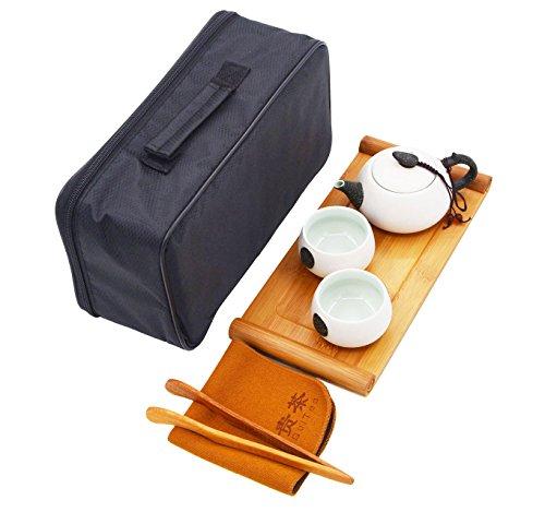 Vegali Portable Travel Tea Set with a Portable Travel Bag - 100 Handmade Chinese  Japanese Vintage Gongfu Teaset - Porcelain Teapot Teacups Bamboo Tea TrayXT1 White-B