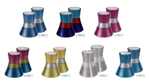 Anodized Aluminum Small Candlesticks Color CMS-2 Blue