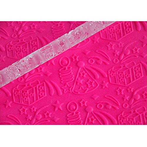Four-c Cupcake Supplies Sugarpaste Embossing Rolling Pin Fondant Decoration Color Transparent