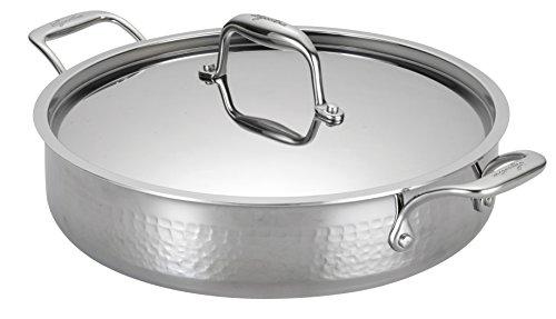 Lagostina Q5534764 Martellata Tri-ply Hammered Stainless Steel Dishwasher Safe Oven Safe Stockpot  Casserolle Cookware 5-Quart Silver