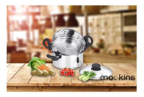 mockins 3 Piece Premium Heavy Duty Stainless Steel Steamer Pot Set Includes a 3 Quart Saucepot With a Vented Glass Lid a 2 Quart Steamer Insert - Stack Steam Pot Set