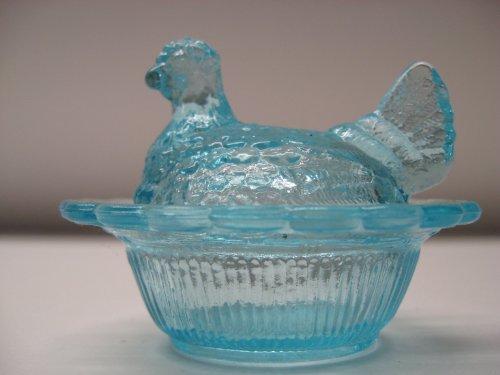 Mini Aqua Blue Glass Hen on Nest Chick Salt Covered Dish