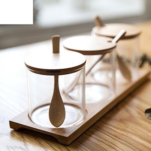 Glass spice jarSalt shakerKitchen moisture-proof seasoning jar Seasoning box Glass dish seasoning box Sugar bowl Spice cans-A