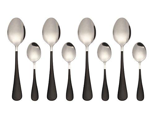 Stainless Steel Oval Dessert Spoons Mini Dessert Spoons Iced Tea Spoons Set of 8Black