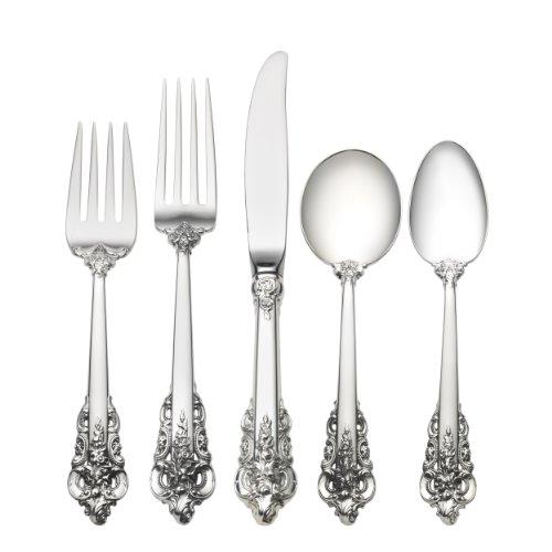 Wallace Grande Baroque 66-Piece Sterling Flatware Set with Cream Soup Spoon