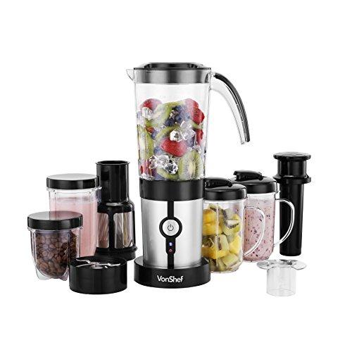 Vonshef 4 In 1 Multifunctional 1.5l Blender, 1l Smoothie Maker, Juicer, Grinder & Cups - Silver