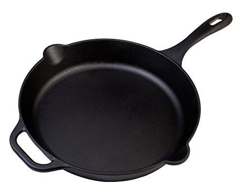 "Victoria Skl-212 12"" Seasoned Cast Iron Skillet Pan With Long Handle, Large, Black"