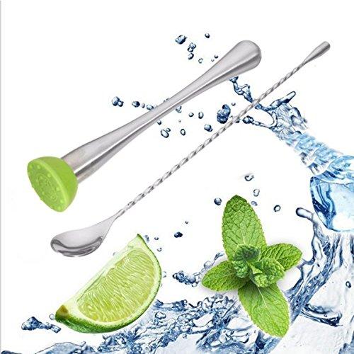 Stainless Steel Stirring Spoon Masher Barware Cocktail Bar Muddler Drink Mixing Tools