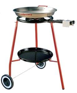 "La Paella Cooking Kit On Wheels With G400 Burner, Tripod And 18"" Carbon Steel Pan, Medium, Black"
