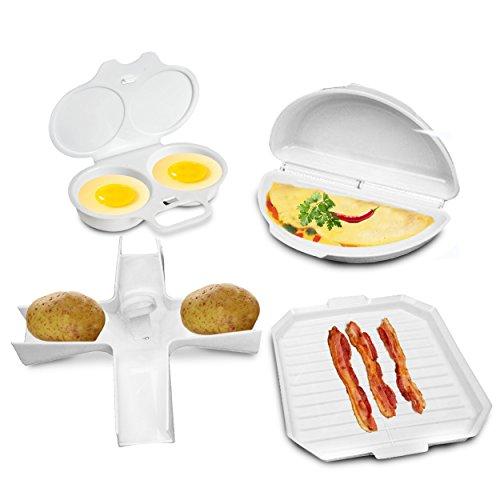 4 Pcs Microwave Cookware Set - Bacon Cooker Rack, Omelette Pan, Potato Baker, Egg Poacher - Complete Microwave