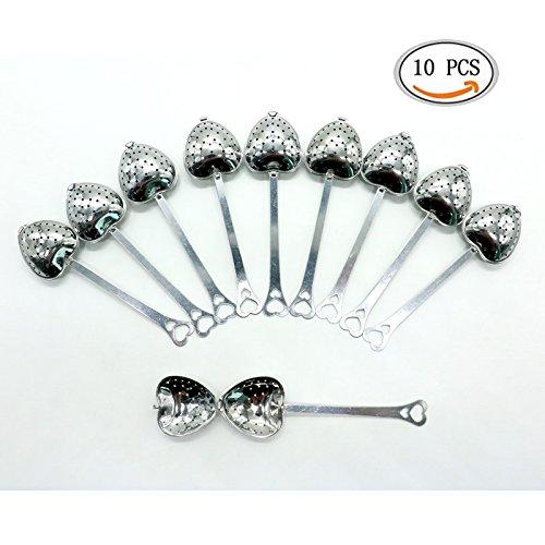 IDS Tea Filter Long Grip Stainless Steel Mesh Heart Shaped Tea Strainer Spoon Set of 10 Tea Infuser Spoon 10 Pcs