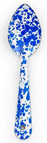 Enamelware 8 Inch Medium Spoon - Blue Marble