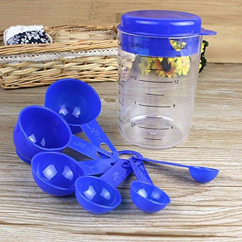 Lautechco 7 PcsSet Plastic Measuring Spoons Cups Tablespoon Set Tools For Baking 1 pcs 500 ml Measuring Glass 6 pcs Spoon Blue