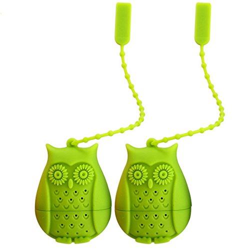 Kennedy Creative Tea Leaf Strainer Filter Eco-friendly Silicone Cute Owl Shape Tea Infuser Strainer Funny Tea Filters-2 PCS