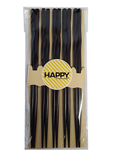 Happy Sales 5 Pairs Spiral Wooden Chopstick Set Black