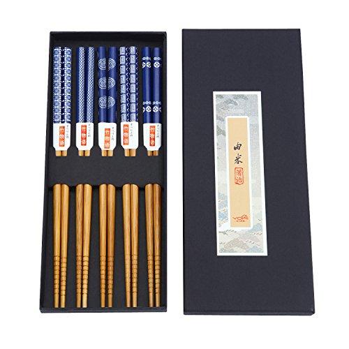 ZxU 5 Pair Natural Hard Bamboo Japanese Chopsticks Set with Gift Box Blue