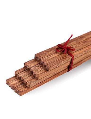 Unichart Chinese Ebony Organic Natural Wood Chopsticks 10 pairs set without paint wax wooden skid by Fine commodities Reusable Dishwasher Safe Khaki