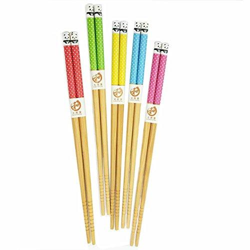 Visual Touch Bamboo Chinese Chopsticks Set of 5 Pairs Panda