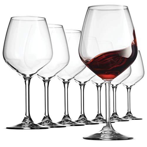 Bormioli Rocco 18oz Red Wine Glasses Crystal Clear Star Glass Laser Cut Rim For Wine Tasting Lead-Free Cups Elegant Party Drinking Glassware Dishwasher Safe Restaurant Quality Set of 8