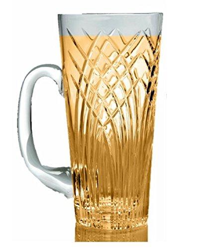 GAC Crystal Glass Beer Mug with Handle 16oz Glass Beer Stein Stunning Hand Cut Design Beer Glass