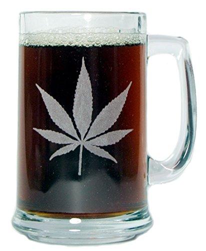 Marijuana Leaf 15oz Beer Mug with Handle