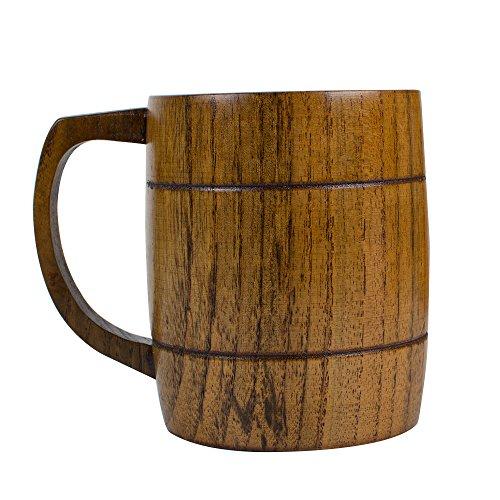 Wooden Beer Cup Vinmax Large Wooden Beer Mug with Handle Coffee Tea Drinking Cup Milk Mug Brown 400ml