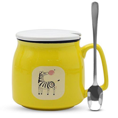Asmwo Cute Zebra Mug Funny Yellow Ceramic Coffee Tea Mug with Lid and Spoon Birthday Christmas Thanks Giving Gift Mugs for Women Girls Boys Kids 12 oz