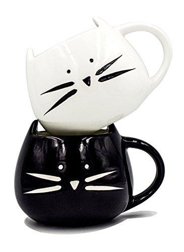 Boseen Lovely Little Cute Cat Coffee Tea Milk Ceramic Mug Cup Best Gift for Lover Pack of 2