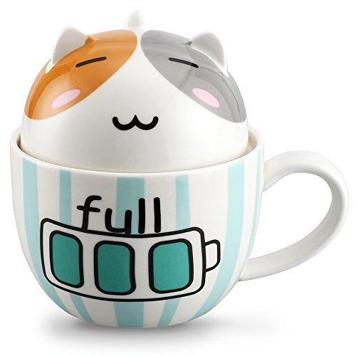 Coffee Mug Cute Funny Cat Mug Lovely Kids Mug Creative Ceramic Tea Cup Novelty Coffee Mugs Perfect Christmas Gifts for Children Girlfriend Mom Friends Cat Lover 11 Oz