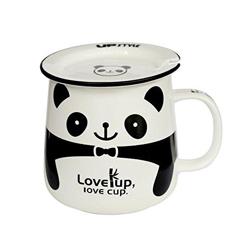UPSTYLE Cute Coffee Mug Animal Pattern Ceramic Cup Travel Coffee Mug with Lid and Handle for Water Tea and Coffee 108OZ CBS4 Panda