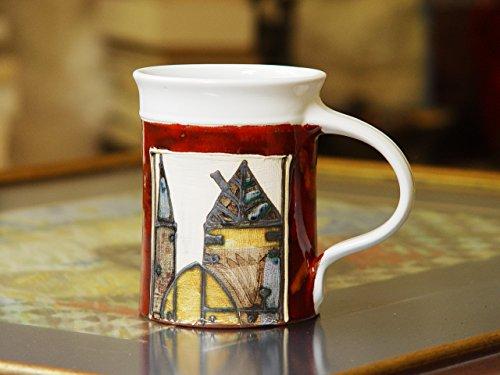 16 oz Red Coffee Mug Large Pottery Mug Ceramic Tea Mug Unique Handmade Teacup Wheel Thrown Pottery