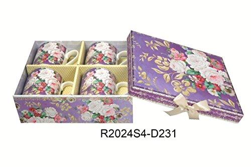 Lightahead Elegant Bone China Coffee Tea Mug set of 4 in Beautiful Roses Design 85 oz each cup in attractive gift box