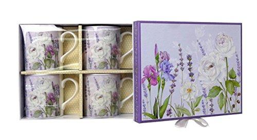 Lightahead Elegent Bone China Coffee Tea Mug set of 4 in attractive gift box in Lavender Floral Design 10 oz each cup