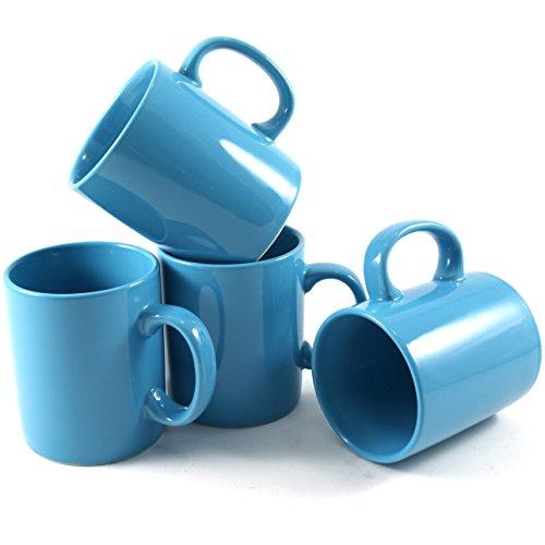 Omniware 11 Ounce Classic Turquoise Ceramic Coffee Mug Set of 4