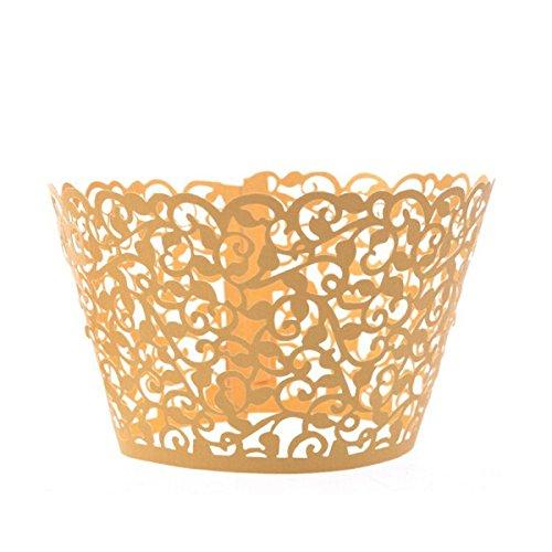 WINOMO 50pcs Cupcake Wrapper Holder Liner Muffin Paper Cup Golden Filigree