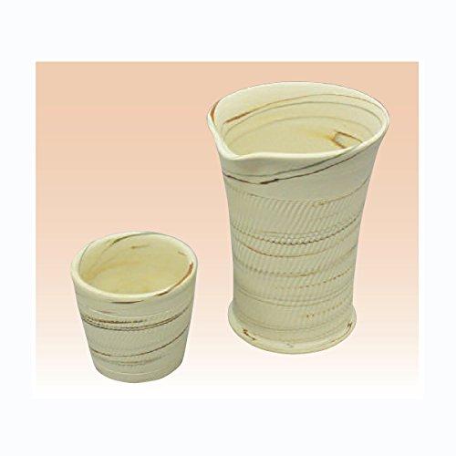 TOKYO MATCHA SELECTION - Cold Iced Sake Bottle 2 Cup Set - Kenji - Japanese Tokoname-yaki pottery ceramic Standard ship by Intl e-packet with Tracking Insurance