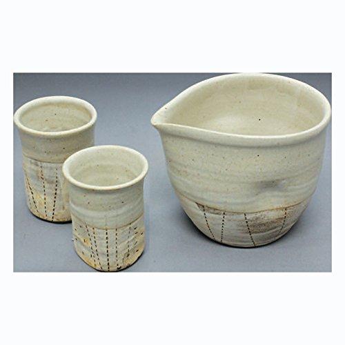 TOKYO MATCHA SELECTION - Cold Iced Sake Bottle 2 Cup Set - Konsei - Japanese Tokoname-yaki pottery ceramic Standard ship by Intl e-packet with Tracking Insurance