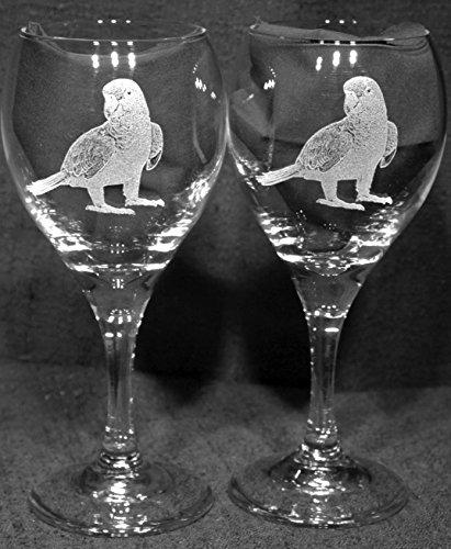 Amazon Parrot Bird Laser Etched Wine Glass Set 2 TDW