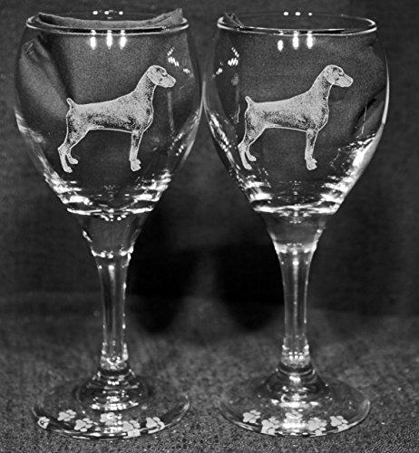 Doberman Pinscher Dog Laser Etched Wine Glass Set 2 TDW