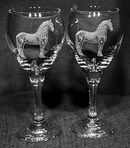 Fresian Horse Laser Etched Wine Glass Set 2 TDW