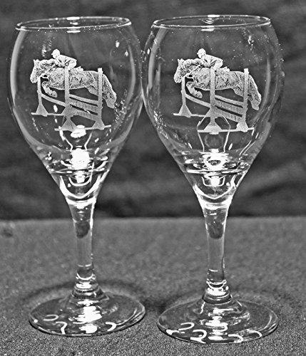 Hunter Jumper Horse Laser Etched Wine Glass Set 2 TDW