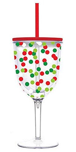 Christmas Confetti Double-Wall Acrylic Wine Glass
