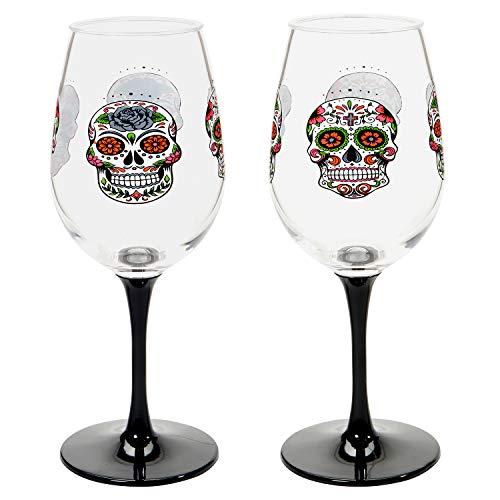 CR Gibson Day of The Dead Sugar Skull Acrylic Wine Glass Set 16 oz 2pcs