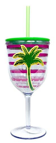 Palm Tree Insulated Acrylic Wine Glass Tumbler w Straw and Lid 14 oz