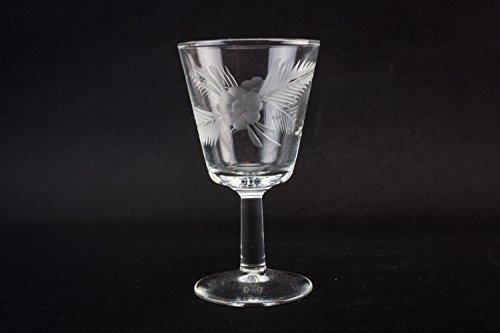 4 Crystal Vintage Floral Sherry PORT GLASSES Medium Christmas Retro Elegant Continental European Late 20th Century LS