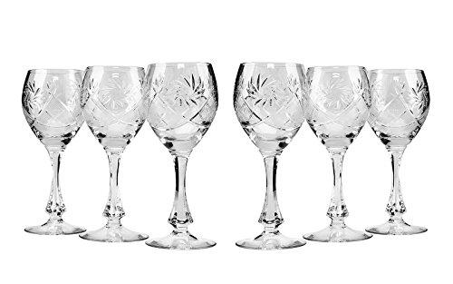 Neman Crystal TM6874 10 Oz Crystal Red Wine Glasses Old-Fashioned Hand Made Glasses Unique Vintage Stemware Set of 6
