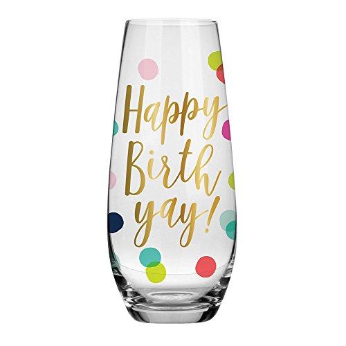 Birthday Champagne Glass - 10 oz Happy Birthday Stemless Champagne Stemless Glass BOLD Multicolor Confetti Perfect Birthday Gift