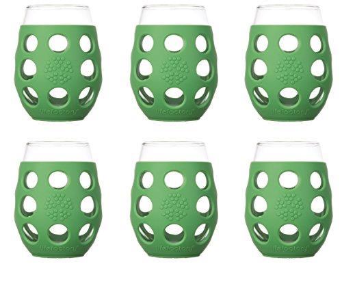 Lifefactory 310213 11 oz BPA-Free IndoorOutdoor Wine Glass with Protective Silicone Sleeve Set of 6 Orange