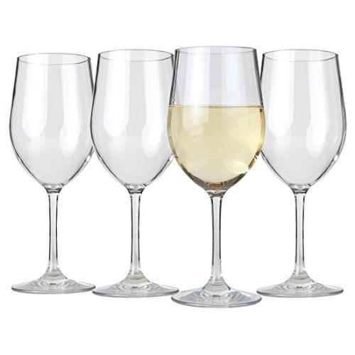 Lilys Home Unbreakable Indoor  Outdoor Chardonnay Wine Glasses 100 Tritan Plastic Shatterproof and Reusable Set of 4